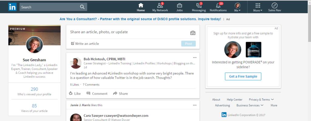 LinkedIn Desktop Redesign Home Page