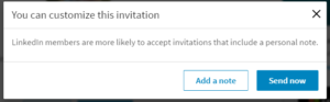 LinkedIn personalizing connection invites pop up box