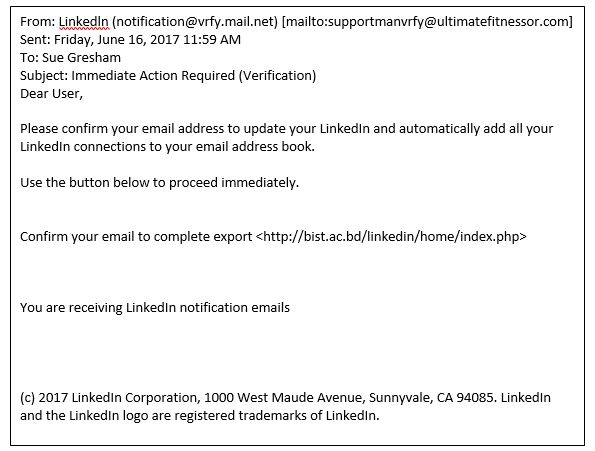 phishing emails that claim to be from LinkedIn but aren't